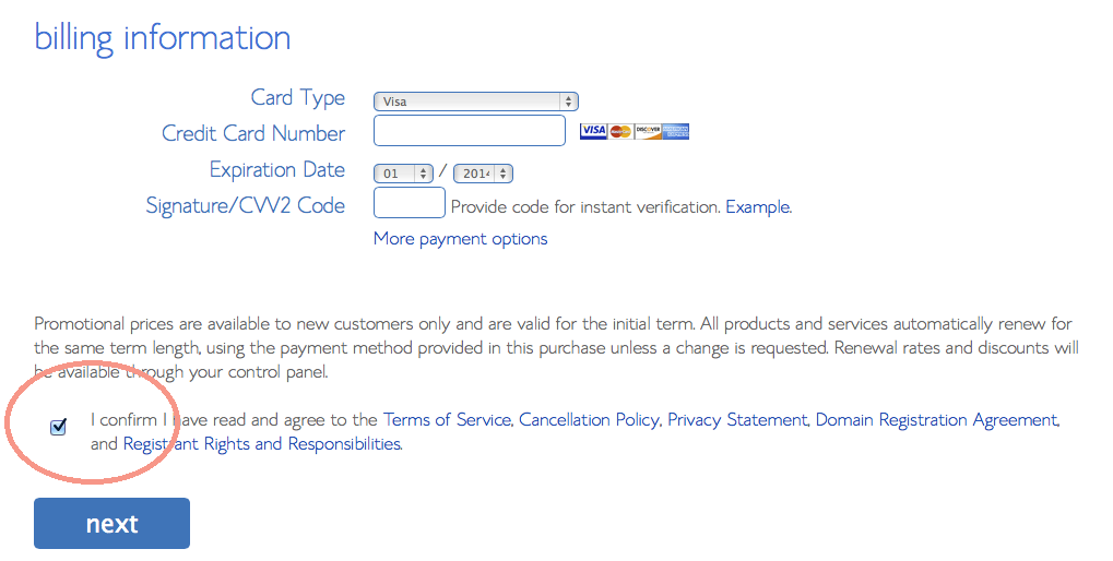 Bluehost credit card billing payment information