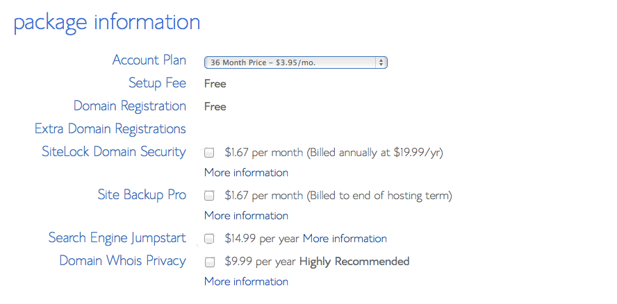 Bluehost hosting package pricing information