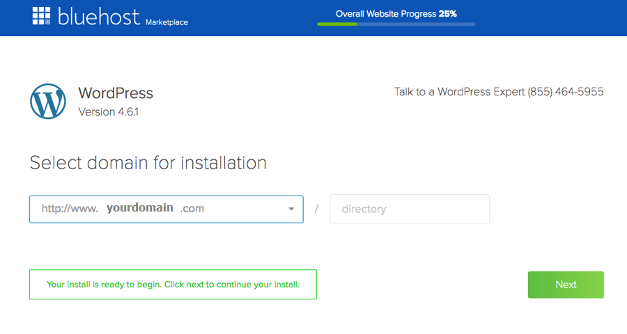 install wordpress on bluehost hosting select domain