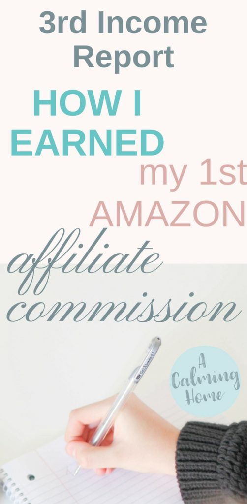 3rd income report shows how i earned my first AMAZON affiliate commission
