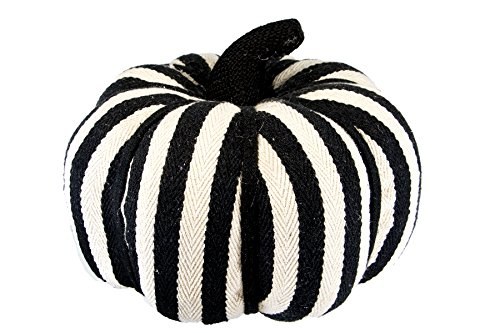 black and white stripe pumpkin decor for fall
