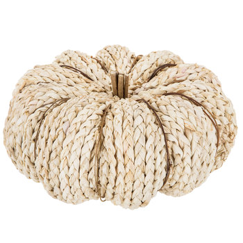 cream neutral rattan wood pumpkin decor