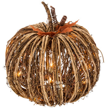 lighted rattan wood twig pumpkin decor