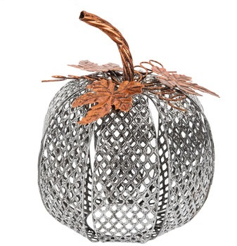 silver metal mesh pumpkin decor with copper leaves