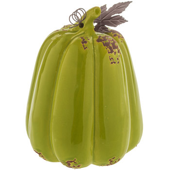 tall green pumpkin decor with metal leaves
